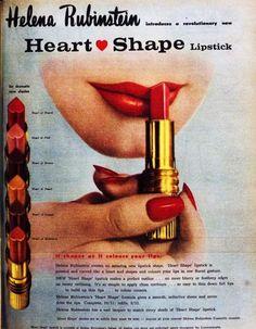 Vintage ad for Helena Rubinstein lipstick: Heart Shape