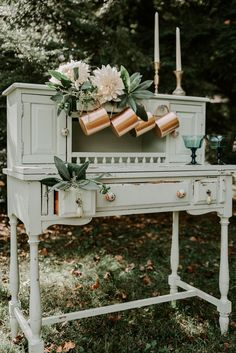 Mint shabby chic wedding decor w/ blue colored glass and copper details | Kaci Baum Photography  #earthywedding #forestwedding #woodlandwedding #wedding #weddinginspo #weddinginspiration #weddingreception #reception #receptioninspo #receptioninspiration #weddingreceptioninspo #weddingreceptioninspiration #receptiondecor #weddingreceptiondecor #weddingdecor