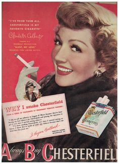 Pretty Claudette Colbert in 1948 Chesterfield Cigarettes Ad #Chesterfield
