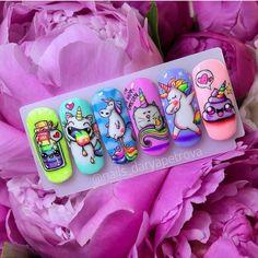 Nail Art Dessin, Animal Nail Designs, Nail Art Wheel, Unicorn Nail Art, Fruit Nail Art, Exotic Nails, Mermaid Nails, Happy Nails, Xmas Nails