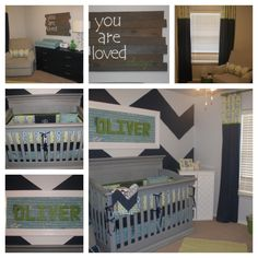 Boy Nursery - Great color scheme for me to redo my little buddy's room.