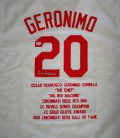 Cesar Geronimo Autographed White Custom Jersey Cincinnatti Reds Sewn Stats PSA/DNA
