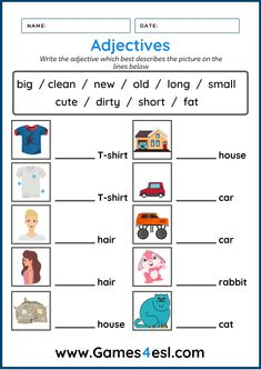 Teach adjectives with these fun adjective worksheets for kids. Download and use them in class today. Esl Worksheets For Beginners, Worksheets For Kids, Adjective Worksheet, Printables, English, Student, Teaching, Writing, Education