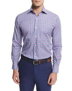 Mini-Check+Woven+Sport+Shirt,+Blue+by+Peter+Millar+at+Neiman+Marcus.