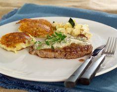 entrecote-med-potetkake Steak, Food, Essen, Yemek, Steaks, Meals
