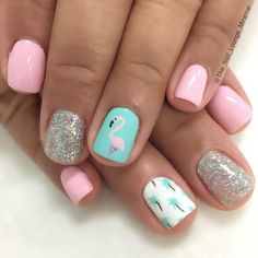 Flamingo palmtrees summer vacation nails inspired by mckenna bleu summer nail art, summer manicure designs Summer Vacation Nails, Summer Holiday Nails, Cute Summer Nails, Holiday Nail Art, Fun Nails, Pretty Nails, Summer Beach Nails, Summer Nail Art, Summer Pedicures
