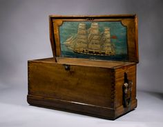 Vintage Sea Chest complete with handpainted interior and beckets (decorative rope handles)