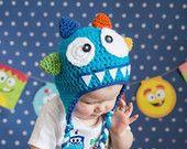 crocheted 4 horn monster hat