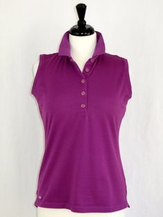 Womens Peter Millar Short Sleeve Polo Golf Shirt Moisture Management Purple M #PeterMillar #ShirtsTops