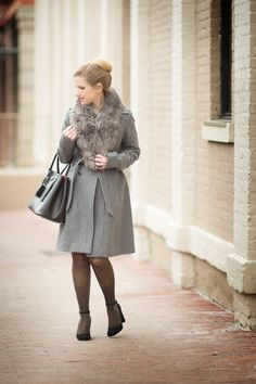 Petite Fashion and Style Blog | Guess Wool Blend Trench Coat | Ann Taylor Faux Fur Stole | Click to Read More...