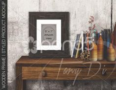Dark Wooden Frame on Table - Stock Footage | by TanyDi
