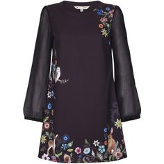 Yumi Embroidered Floral Tunic Dress (61 NZD) ❤ liked on Polyvore featuring dresses, black, clearance, embroidered flower dress, long sleeve floral dress, floral dresses, flower design dresses and long sleeve floral print dress
