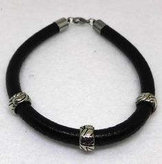 Leather Mens Bracelet  8 mm Round Smooth Leather by Seek2BUnique