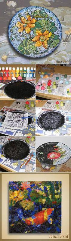 Eggshell-Mosaic- more ideas for egg shells www.ourdailyideas.com/diy-eggshell-mosaic-patterns/ by courtney