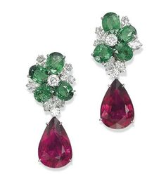 Lot 17 - A Pair of Tourmaline, Garnet and Diamond Earrings, By Michele Della Valle