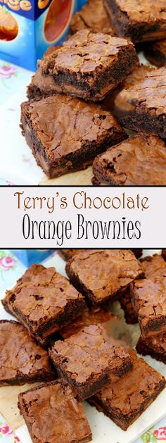 Terry's Chocolate Orange Brownies Moist, Chocolatey and Delicious Brownies with a hint of Orange, dotted with Terry's Chocolate Or. Chocolate Orange Cheesecake, Chocolate Orange Cookies, Orange Brownies, Chocolate Brownies, Chocolate Chocolate, Healthy Chocolate, Terrys Chocolate Orange Cake, Christmas Chocolate, Homemade Chocolate
