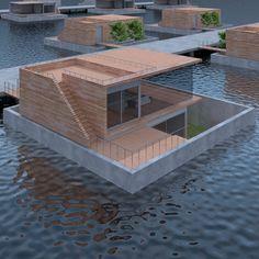 Architect woonboot, waterwoning, watervilla, drijvende woning, woonark   Duurzame waterwoningen