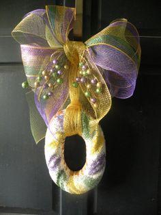 King Cake Mardi Gras Door Hanger Wreath