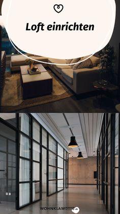 Ein Loft einrichten geht gar nicht so einfach! Wohnbereich, Bett, Küche und Schreibtisch in einem Raum? Wir zeigen Dir, wie Du mit verblüffenden Tricks und cleveren Ideen Deine Einzimmerwohnung in ein kreatives und funktionales Loft mit Flair verwandelst. Tricks, Stairs, Industrial, Home Decor, Dividing Wall, Big Sofas, One Room Flat, Brickwork, Living Area