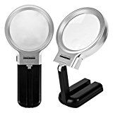 Vinmax LED Lighted Magnifier 3X with Folding Stand Hobby & Craft Illuminated Magnifying Glass