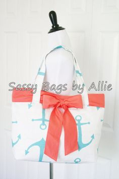 Hey, I found this really awesome Etsy listing at http://www.etsy.com/listing/150296372/anchor-handbag-with-coral-bow-blue