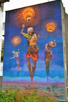 Street Art By Ukrainian Artist Alexander Grebenyuk On The Streets Of Kamianets-Podilskyi.