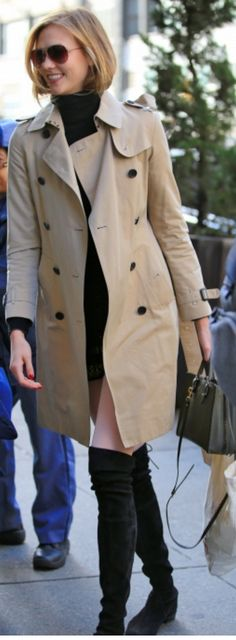 Who made Karlie Kloss' tan trench coat, green tote handbag, and black suede thigh high boots?