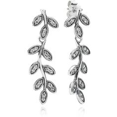 Pandora Drop Earrings - Sterling Silver & Cubic Zirconia Sparkling... ($100) ❤ liked on Polyvore featuring jewelry, earrings, silver, pandora jewelry, pandora earrings, sterling silver earrings, cz earrings and glitter earrings