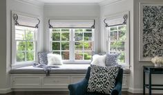 Bedroom bay window seat master bedroom bay window bench with navy key roman shades bedroom bay window seat ideas White Bedroom Design, Blue Bedroom, Bedroom Colors, Trendy Bedroom, Bay Window Benches, Window Seats, Window Seat Kitchen, Bedroom Seating, Curtains With Blinds