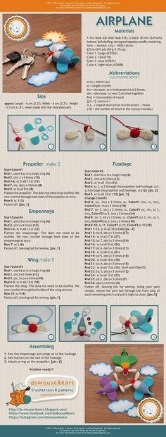 описание вязания, бесплатное, самолет, мастер-класс, амигуруми, игрушка для мишки, аэроплан. free pattern airplan, amigurumi pattern