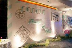小清新蒂芙尼蓝色主题婚礼签到背景设计展示区背景旅行信封
