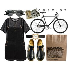 nothing is everything by ameliaelves on Polyvore featuring polyvore, fashion, style, Monki, Dr. Martens, American Apparel and Jamie Jewellery