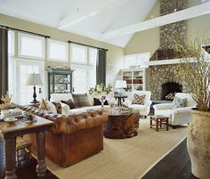 Casual Living Room with exposed beams. Could do this with garage.