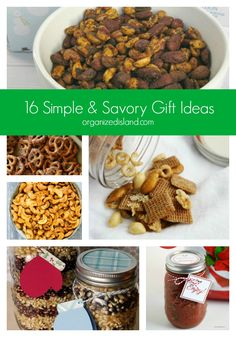 16 Simple & Savory Gift Ideas -Great home-baked gift ideas. Perfect for last-minute gift giving too! Christmas Food Gifts, Homemade Christmas Gifts, Appetizer Recipes, Dog Food Recipes, Snacks Recipes, Easy Recipes, Savory Snacks, Dessert For Dinner, Holiday Recipes