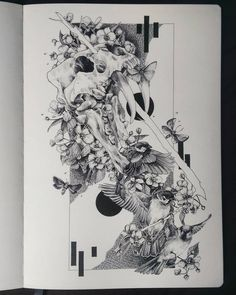 "226 Me gusta, 19 comentarios - @miniscule.artwork en Instagram: ""All done! #skull #birds #sparrow #moleskineart"""
