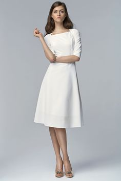 A structured off white dress with square neckline. The midi length of this dress giv… Cocktail Dress Modest, Modest White Dress, Off White Dresses, White Cocktail Dress, Ivory Dresses, White Outfits, Modest Dresses, Casual Dresses For Women, Pretty Dresses