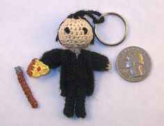 MINI Death Crochet Doll Keychain Option by PaintsAndNeedles  ||  Dean's friend Death.  Comes with his cane and/or a slice of pizza, and you choose which is attached to his hand, if any.