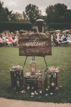 Wood calligraphy welcome sign romantic and moody wisconsin botanical garden wedding caylee + austin via wedding planner guide garden wedding ideas beautiful decorations for a fun Outdoor Wedding Signs, Wedding Welcome Signs, Wedding Backyard, Rustic Garden Wedding, Small Garden Wedding, Wedding Venues, Rustic Signs For Wedding, Rustic Outside Wedding, Wedding Sign In Ideas