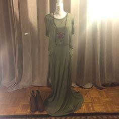 Maxi dress Olive green maxi with pockets. An Anthropologie Brand. Bordauex Dresses Maxi