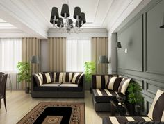 Download Attractive Black Shade Living Room Chandelier Over Black White Striped Sofas In Luxurious Best Gray Paint Colors For Modern Living Room Designs Perfect Interior Decoration Improvement Ideas HD Wallpapers
