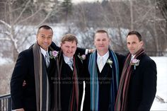 The scarves are a nice touch -   Winter wedding photos Ottawa Ontario. Ottawa wedding photographer, Black Lamb Photography. Hog's Back wedding photos. Gatineau wedding photographer.
