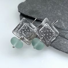 Sterling silver square earrings with frosted aqua glass beads £45.00 Aqua Glass, Square Earrings, Organza Gift Bags, Beautiful Gifts, Gifts For Friends, Silver Earrings, Glass Beads, Dangles, Cufflinks