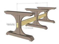 Triple Pedestal Farmhouse table..... Material list, cut list and plans.....