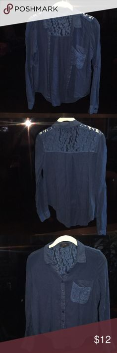 Navy blue with hints of lace blouse This button down can be worn with anything! I have worn this once several years ago and it has been sitting in my closet ever since! I am getting rid of a ton of EUC and NWT clothing Tops Button Down Shirts