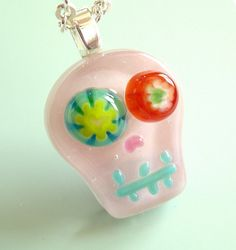 Mini Pink Kooky Skull Fused Glass Pendant Necklace by mimibuggy, $22.00 LOVE the eyes!