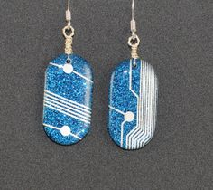 Crystal Circuit Blue Sparkle Oval  Earrings by DownRightEpic, $15.00