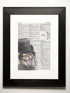 The original laughing cat - this wholly original digital artwork is printed on reclaimed vintage dictionary pages. Each cat is created based on an actual living pet - either our own or a rescue animal from a local shelter.