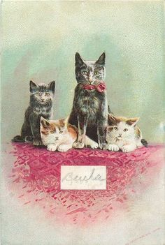 1890 Victorian Trade Card Cat Family Singer Sewing Machines
