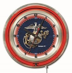 "United States Marines 19"" Round Chrome Double Neon Ring Wall Clock"