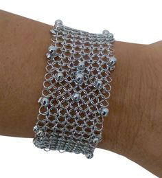 Sg Liquid Metal Silver Chainmail Bracelet Cmb2 By Sergio Gutierrez